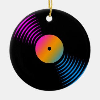 Ornamento retro del disco de vinilo del tigre 80s adorno navideño redondo de cerámica