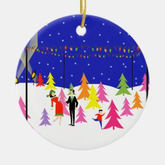 Ornamento retro del navidad de la granja de árbol adorno navideño redondo de cerámica