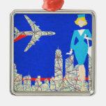 Ornamento retro del navidad del asistente de vuelo adorno navideño cuadrado de metal