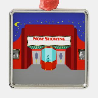 Ornamento retro del navidad del cine adorno navideño cuadrado de metal