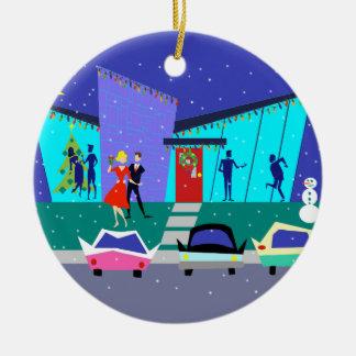 Ornamento retro del navidad del dibujo animado del adorno navideño redondo de cerámica
