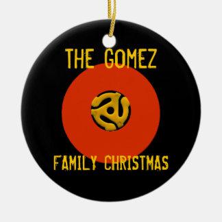 Ornamento retro del navidad del disco de vinilo adorno redondo de cerámica