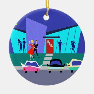 Ornamento retro del navidad del fiesta de casa adorno navideño redondo de cerámica