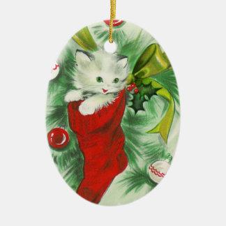 Ornamento retro del navidad del gatito adorno para reyes