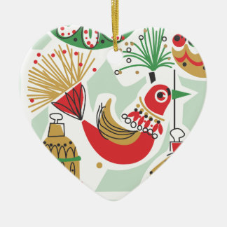 Ornamento retro del navidad del pájaro adorno de cerámica en forma de corazón