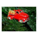 Ornamento rojo 1 del navidad del camión tarjetas