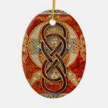 Ornamento rojo 4 de Cloisonne del infinito doble Adorno