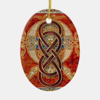 Ornamento rojo 4 de Cloisonne del infinito doble Adorno Ovalado De Cerámica