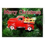 Ornamento rojo 4 del navidad del camión tarjetas