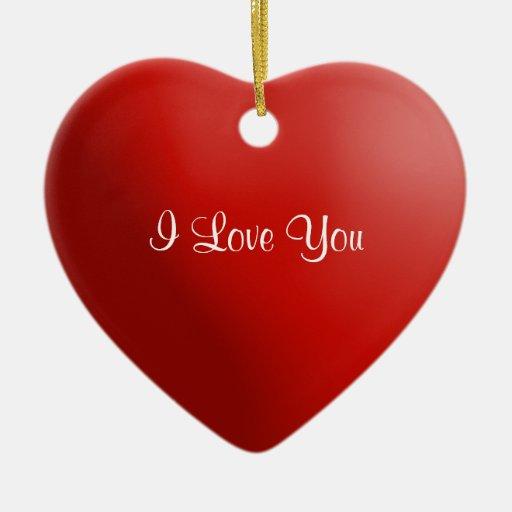 Ornamento rojo 6 del corazón te amo adorno navideño de cerámica en forma de corazón