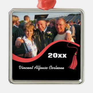 Ornamento rojo adaptable de la graduación de la adorno navideño cuadrado de metal