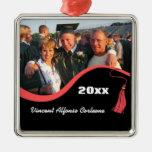 Ornamento rojo adaptable de la graduación de la bo ornamento para arbol de navidad