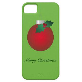 Ornamento rojo antiguo del navidad iPhone 5 Case-Mate carcasas