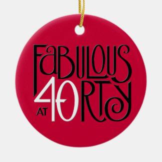 Ornamento rojo blanco negro 40 fabulosos adorno navideño redondo de cerámica