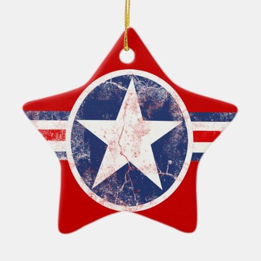 Ornamento rojo, blanco y azul de la estrella de la adorno