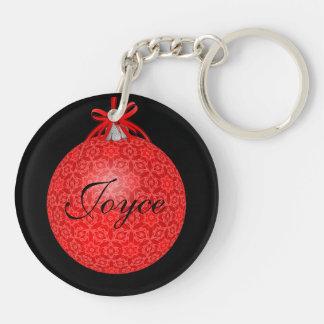 Ornamento rojo bonito del navidad llavero redondo acrílico a doble cara