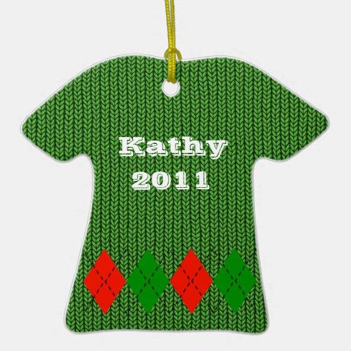 Ornamento rojo cómodo del suéter de Argyle Adorno De Reyes