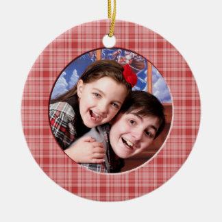 Ornamento rojo de encargo de la foto del navidad d ornaments para arbol de navidad