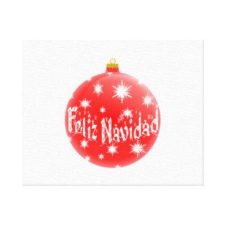 Ornamento rojo de Feliz Navidad del navidad Impresiones En Lona Estiradas