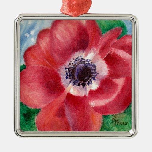 Ornamento rojo de la amapola ornamentos para reyes magos