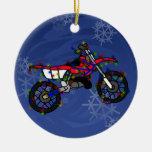 Ornamento rojo de la bici de la suciedad del navid adornos de navidad