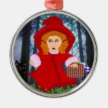 Ornamento rojo de la capa con capucha adornos