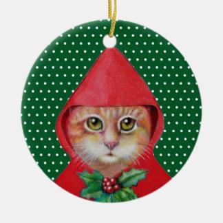 Ornamento rojo de la capa con capucha del gato del adorno redondo de cerámica