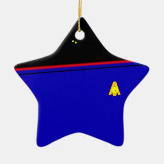 Ornamento rojo de la estrella azul del salón de ornamentos de navidad