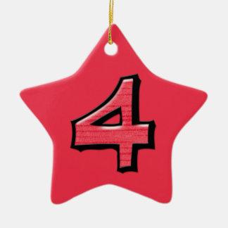 Ornamento rojo de la estrella del número 4 tontos adorno navideño de cerámica en forma de estrella