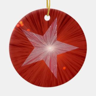 Ornamento rojo de la estrella redondo ornamentos para reyes magos