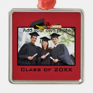 Ornamento rojo de la foto de la graduación ornamento de navidad