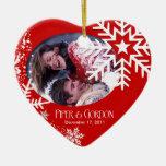 Ornamento (rojo) de la foto de los copos de nieve  adornos de navidad
