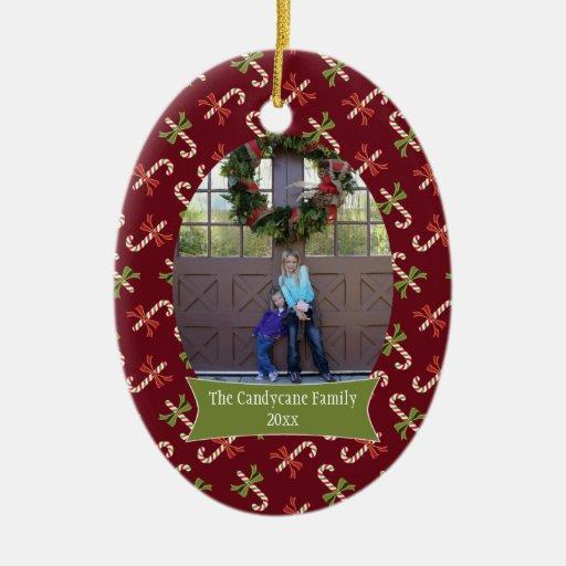Ornamento rojo de la foto del día de fiesta del na adornos de navidad