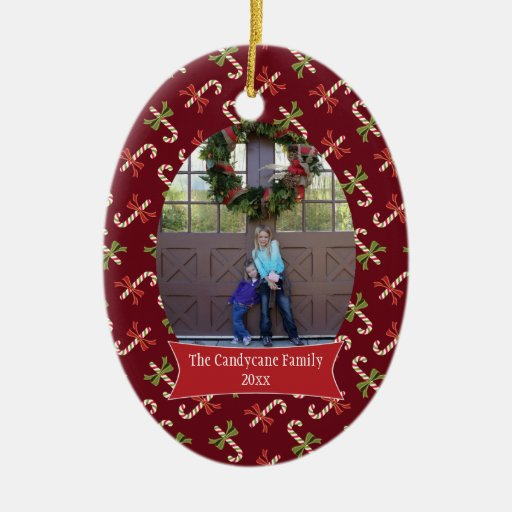 Ornamento rojo de la foto del día de fiesta del na adorno de navidad