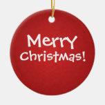 Ornamento rojo de las Felices Navidad del día de f Adornos De Navidad