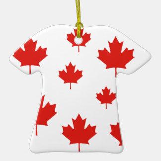 Ornamento rojo de las hojas de arce de Canadá Adorno De Cerámica En Forma De Playera