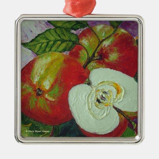 Ornamento rojo de las manzanas de Jonagold Adorno Cuadrado Plateado
