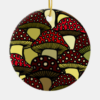 Ornamento rojo de las setas adorno navideño redondo de cerámica