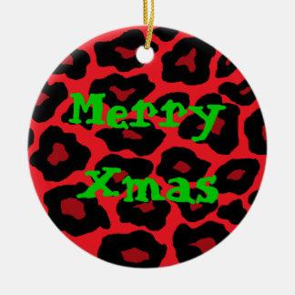 Ornamento rojo de Navidad del leopardo Adorno