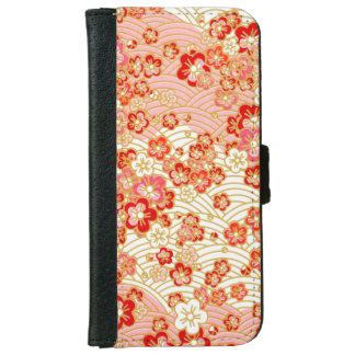 Ornamento rojo de Sakura Funda Cartera Para iPhone 6