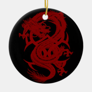 Ornamento rojo de Xiuhcoatl del dragón Adornos De Navidad