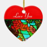 Ornamento rojo del amor del vitral adorno de cerámica en forma de corazón