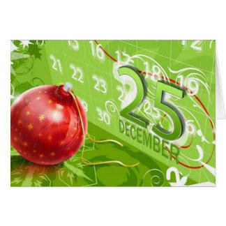 Ornamento rojo del árbol de navidad con el 25 de d tarjeta de felicitación