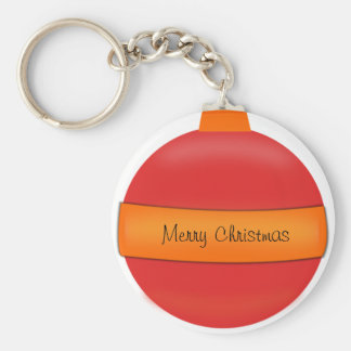 Ornamento rojo del árbol de navidad del bulbo de c llavero redondo tipo pin