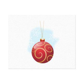 Ornamento rojo del árbol de navidad impresión en lona estirada