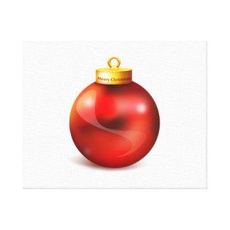 Ornamento rojo del árbol de navidad impresión en lienzo estirada