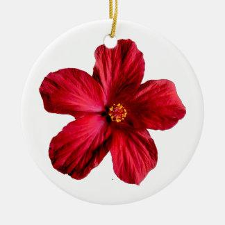 Ornamento rojo del círculo de la flor del hibisco adorno navideño redondo de cerámica