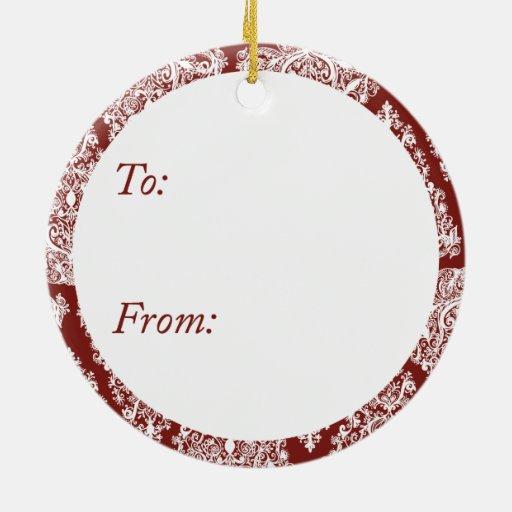 Ornamento rojo del círculo del árbol de navidad adorno redondo de cerámica