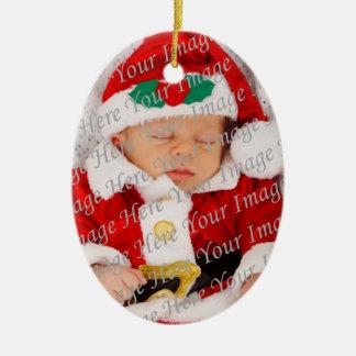 Ornamento rojo del copo de nieve del 1r navidad adorno navideño ovalado de cerámica