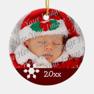 Ornamento rojo del copo de nieve del 1r navidad adorno navideño redondo de cerámica